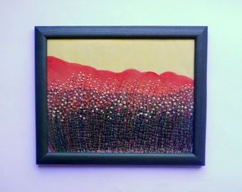 fiber textile wall hanging art  framed embroidery picture