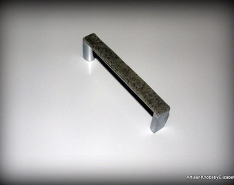 Cabinet/Drawer Knobs/Pulls, Polymer Clay simulated Gray Stone on 4 inch Brushed Nickel Pulls