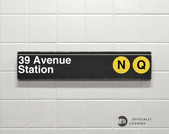 39 Avenue Station - New York City Subway Sign - Wood Sign
