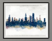 Watercolor Chicago Skyline Art Print Poster - Housewarming, Gift Idea Home Decor, Wall Hanging, Chicago Art
