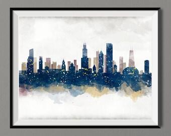 Watercolor Chicago Skyline Art Print Poster - Housewarming, Gift Idea Home Decor, Wall Hanging, Chicago Art
