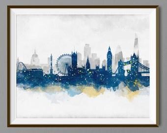 London Skyline Watercolor Art Print Poster - Housewarming, Gift Idea Home Decor, Wall Hanging, London Art
