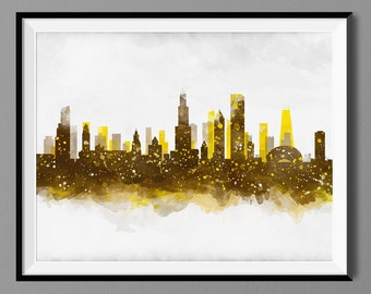 Chicago Skyline, Watercolor Chicago Illinois Cityscape Wall Art Print Poster