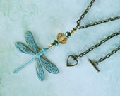 Dragonfly Necklace, Whimsical Jewelry, Dragonfly Jewelry, Dragonfly Pendant, Painted Brass Dragonfly