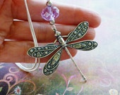 Dragonfly Necklace, Whimsical Jewelry, Dragonfly Jewelry, Silver Dragonfly Pendant