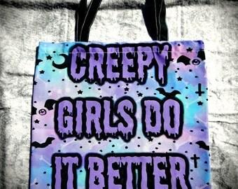 S A L E Creepy Girl Tote Bag