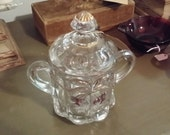EAPG Northwood Glass Cherry and Cable Small Biscuit Jar with Lid