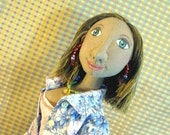 Gail 18 inch original cloth doll in pale blue capri pants and blue floral shirt