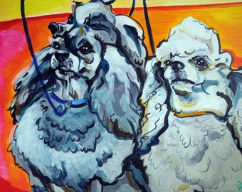 Poodles - At the Show - 18x24 Original Painting