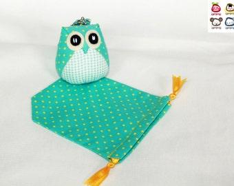 Bello - the Little Owl Doll with Bag: green, plush, keychain, children, kid, baby, cute, kid, boy, kawaii, plaid, dot, dots, poka dot
