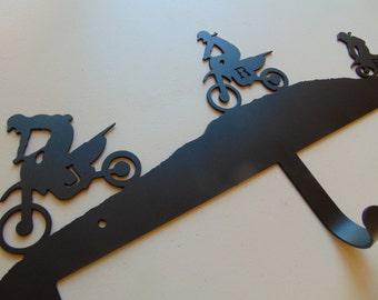 Metal Custom Motocross Dirt Bike Wall Rack / Hooks, Custom Color and Size, Motorcycle Art