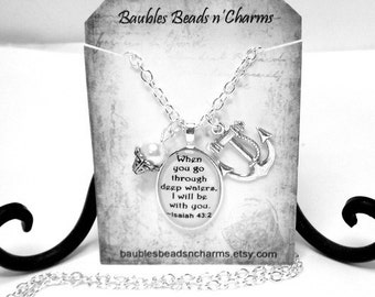 Anchor Necklace with Quote, Anchor Quote Necklace, Bible Verse Quote Necklace, Best Friends Quote Charm Necklace