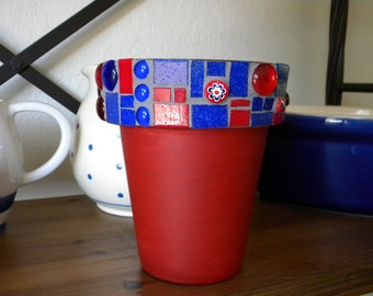 Red and Cobalt Blue Mosaic Cross Planter/Caddy