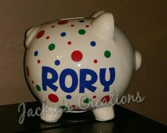 Personalized Piggy Bank/ Custom Piggy Bank/ Baby Shower Gift