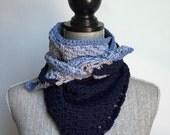 Crochet Cotton Handkerchief Scarf in Denim and Navy Blue