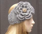 Crochet Flower Head Wrap Earwarmer Winter Headband Taupe Light Brown Heather with Coconut Buttons