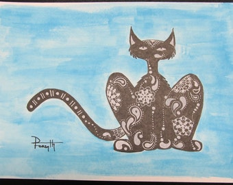 """Paisley Cat in Blue (9""""x6"""") - By Donna Forsyth"""