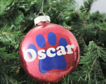 Red Glitter Personalized Glass Ornament with Pet Paw / Christmas Ornament / Holiday Gifts under 20 / Pet Presents