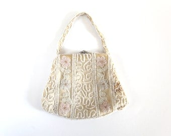 Darling Small White & Pink Beaded Floral Purse / Change Purse / Vintage 1930s 1940s
