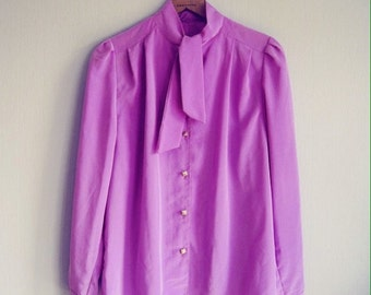 Blouse Bow, size S-M Vintage Blouse, Neck Bow Blouse, Secretary Blouse, Bow Blouse, Purple Blouse, Long Sleeve Blouse, Vintage Blouse Bow
