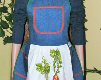 Mary's Gourmet Kitchen Apron in 100% Cotton Denim w/cotton print towel