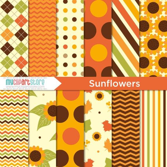 Digital Paper Sunflowers Fall Autumn Thanksgiving Scrapbook