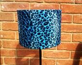 "8"" x 6"" Blue & Black baby Leopard print Faux Fur Animal Print Drum Lamp Shade Universal"