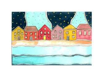 """Small Painting , Wall Art ,"""" Night  On The Waterfront """" Gold, Aqua And Midnight Blue"""