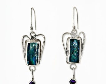 Earrings set with ancient Roman Glass and Cirine.