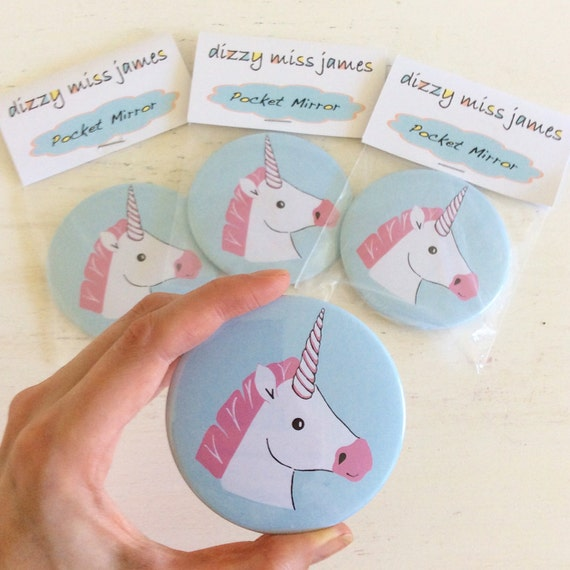 Miss Unicorn Pocket Mirror - Small Mirror - Hand Mirror - Handbag Mirror