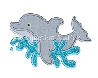 Dolphin Applique Machine Embroidery Design sea creature nautical ocean fish whale summer INSTANT DOWNLOAD