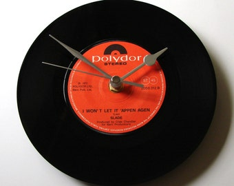 "SLADE Vinyl Record CLOCK  7"" single ""I Wont Let It Appen Again"" Fun gift for men women old rockers fans glam rock black and red wall clock"