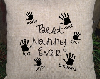 Adorable Nanna, Grandma, Nonna Pillows from the grandchildren/grandkids - customised with names. Perfect birthday or christmas gift!