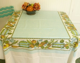LARGE Vintage Tablecloth, Aqua w/ Greens and Golds and Yellow, Autumn Fall Decor, Thanksgiving Table
