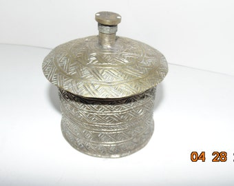 Vintage Antique ETCHED BRASS CONTAINER With lid India Trinket Jar