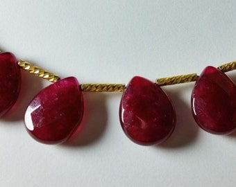 Ruby Jade Faceted Briolette Beads 15mm - 16mm