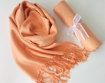 PEACH ( Light Orange ) Pashminas. Bridesmaid Peach Shawl. Pashmina Scarf. Wedding Favor