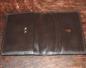 1960s Mark Cross France Dark Brown Leather Man's Billfold Card Case Wallet with Gold Embossed Logo and Initials M.H. - unused