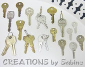 Lot of 21 Vintage Keys Yale Type Cylinder Lock Key Brass Silver Tone Old Jewelry Making Bell Hop Arts and Crafts Steampunk Supplies (I)