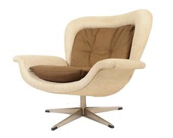 Danish Mid Century Modern John Mortensen Prototype Swivel Lounge Chair