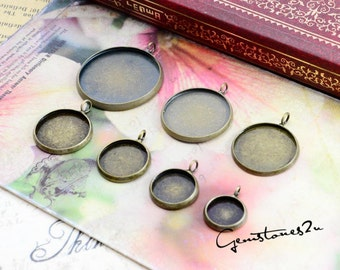 20pcs Antique Bronze 10mm / 12mm / 14mm  / 16mm / 18mm / 20mm / 10pcs 25mm Brass Cameo Base Setting Pendant