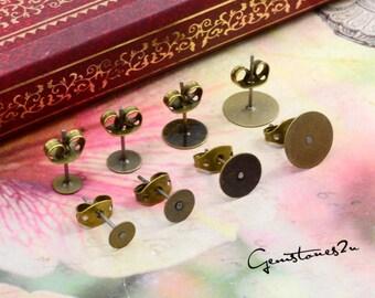 Earring Studs 100pcs Brass Bronze Earring Flat Stud with 4mm / 5mm / 6mm / 8mm / 10mm Pad
