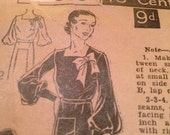 Vintage 1930s Excella Dress Pattern - factory folds