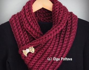 Burgundy Chunky Cowl Crochet Pattern, Easy Crochet Pattern, Instant PDF Download