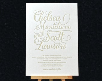 Ava Letterpress Invitation Suite DEPOSIT