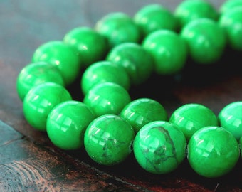 Howlite Beads, Bright Apple Green, 10mm Round - 15 inch Strand - eGR-MG010-10