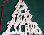 Mackinac Island, handcrafted tree shaped ornament