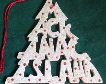 Mackinac Island, handcrafted tree shaped ornament