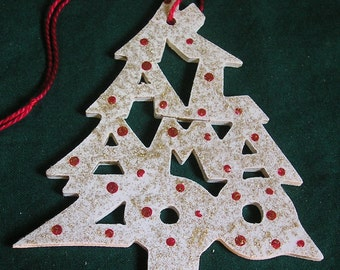 Kalamazoo, handcrafted tree shaped ornament