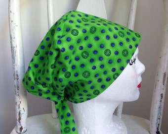 Scrub Hat Tie Back Pixie Style Green with Blue Designs